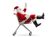 Santa Claus Sitting Inside A Shopping Cart