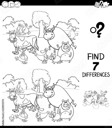 differences game with farm animals color book – kaufen Sie ...