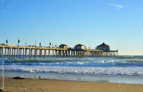 Huntington Beach california, the pier in the evening sun