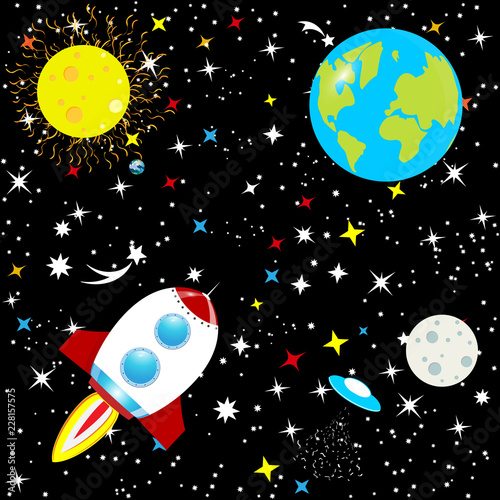 Foto op Canvas Kosmos Abstract background the constellation of the Galaxy on a black background. The starry sky of the universe. Spaceship in space among stars, planet Earth and stars. Vector.