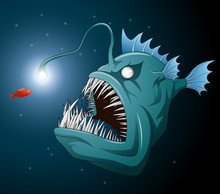 Anglerfish Mouth On Dark Backg...