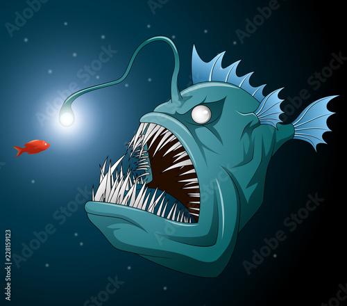 Photo Anglerfish mouth on dark background