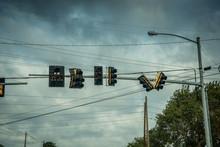 Broken Street Lights After Hurricane Michael