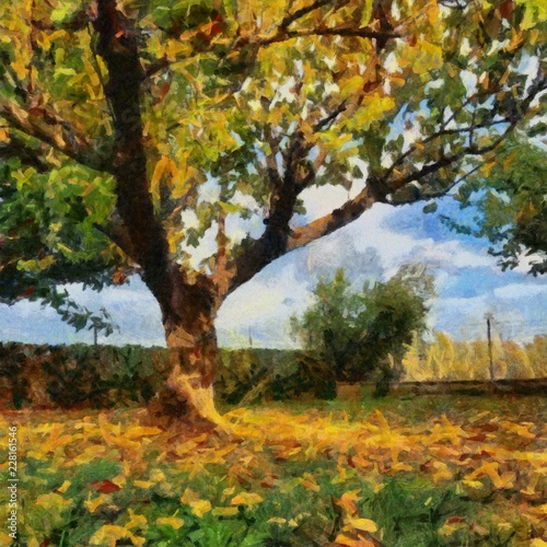 Fototapety, obrazy: Hand drawing watercolor art on canvas. Artistic big print. Original modern painting. Acrylic dry brush background. Beautiful autumn landscape. Single tree with green and yellow leaves.