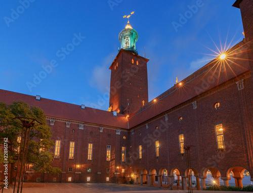 Photo  Stockholm. City Hall on the sunset.