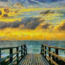 Hand Drawing Watercolor Art On Canvas. Artistic Big Print. Original Modern Painting. Acrylic Dry Brush Background. Beautiful Sea Landscape. Charming Sunset. Resort View. Exotic Paradise. Wooden Bridge