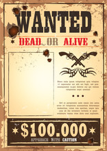 Retro Wanted Paper For Wild West Bounty