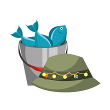 Hat And Bucket Fishes Fishing Equipment Hobby