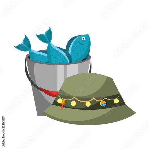 hat and bucket fishes fishing equipment hobby Wallpaper Mural