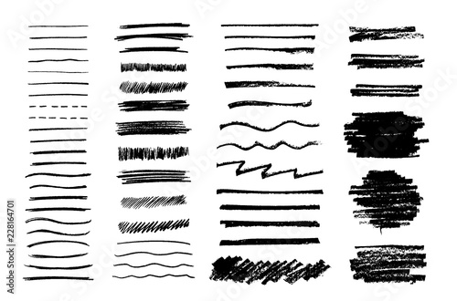 Photo  Set of vector grungy graphite pencil art brushes