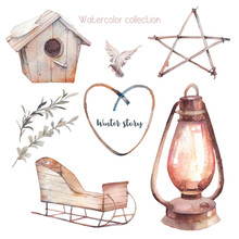 Watercolor Winter Illustrations Set. Rustic Isolated Items: Sleigh, Wooden Star Decoration, Eucalyptus Leaves, Lantern, Nesting Box, Dove. Scandinavian Icons Collection.