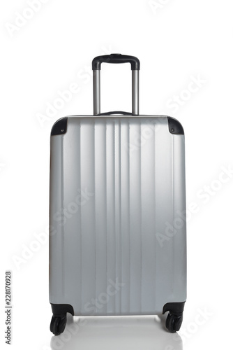 Fotografie, Obraz  Silver Suitcase on a white background