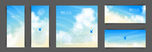 Set Of Different Backgrounds With Realistic Beige-blue Sky And Cumulus Clouds. The Image Can Be Used To Design A Banner, Flyer And Postcard.
