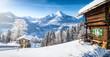 Leinwandbild Motiv Winter wonderland with mountain chalets in the Alps