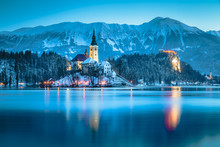 Twilight View Of Lake Bled Wit...