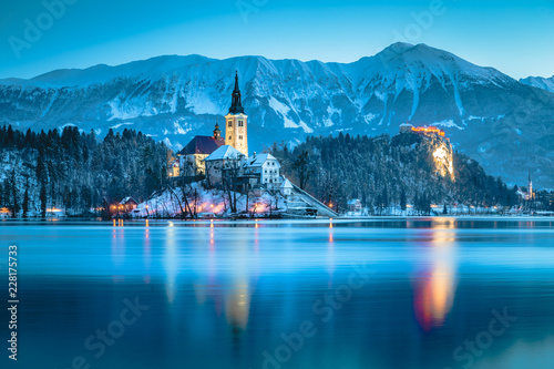 Twilight view of Lake Bled with Bled Island and Bled Castle in winter, Slovenia Canvas Print