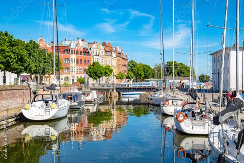 Türaufkleber Schiff Historic town of Stralsund in summer, Mecklenburg-Vorpommern, Germany