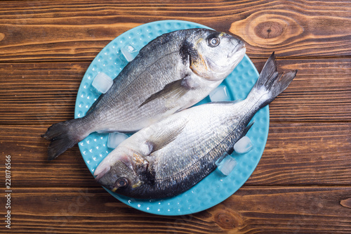 Fotografie, Obraz  Raw dorado fish in plate with ice