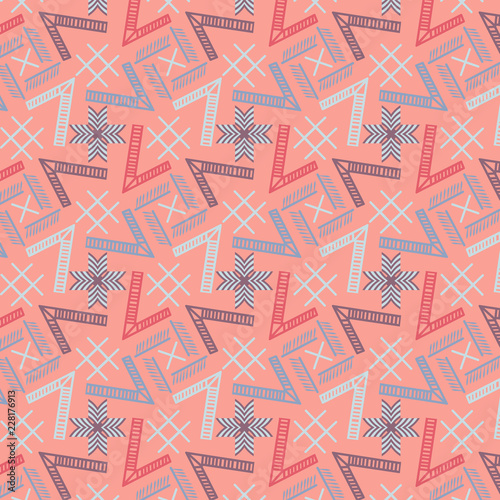 Modern Cool Colorful Geometric Repeating Pattern On Pink