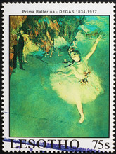 Dancer In Painting By Degas On Postage Stamp