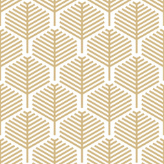 Abstract geometric leaf pattern with lines - Gold and white design - Seamless vector background
