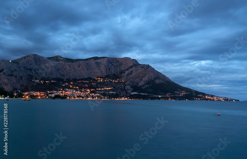 Spoed Foto op Canvas Centraal Europa Omis city view near the mountain in Croatia at evening.