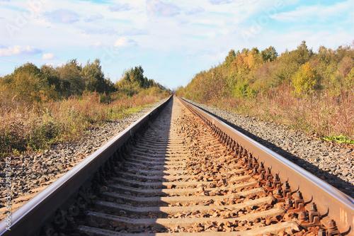 In de dag Spoorlijn Railway Train Track on Fall Landscape. Industrial Transportation Image of Passenger Train Railroad at Autumn Nature. Commuter Tracks on Rural Background with Empty Sky