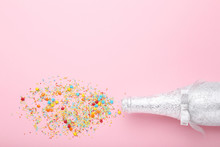 Champagne Bottle With Colorful...