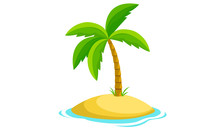 Amazing Palm Tree And Island Vector