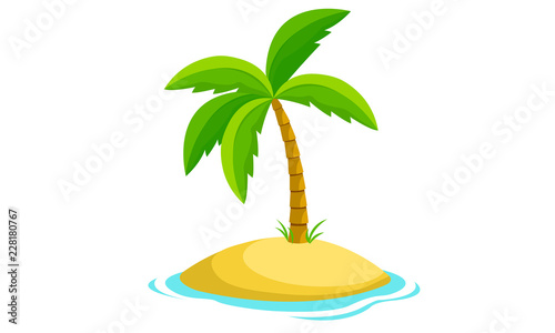Amazing Palm Tree And Island Vector Canvas Print