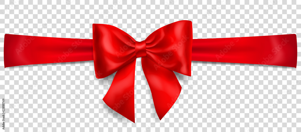 Fototapeta Beautiful red bow with horizontal ribbon with shadow on transparent background
