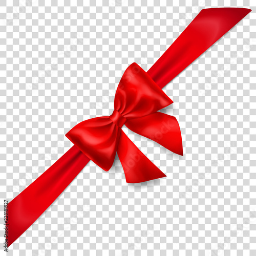 Beautiful red bow with diagonally ribbon with shadow on transparent background Poster Mural XXL