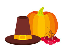 Thanksgiving Day Hat Pumpkin And Cherries
