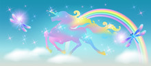 Rainbow In The Sky And Galloping Unicorn With Luxurious Winding Mane Against The Background Of The Iridescent Universe With Sparkling Stars And Dragonfly