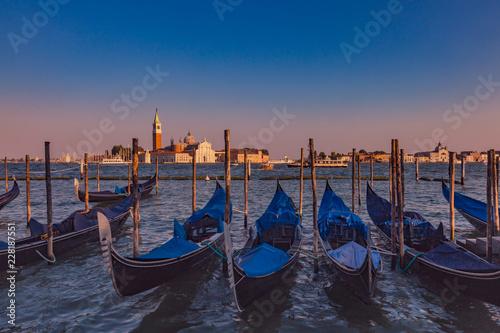 Spoed Foto op Canvas Gondolas by St. Marks Square and San Giorgio Maggiore at dusk in Venice, Italy