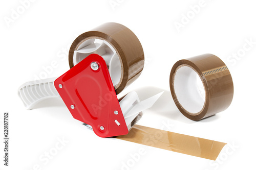 Obraz Brown adhesive packaging tape dispenser - fototapety do salonu