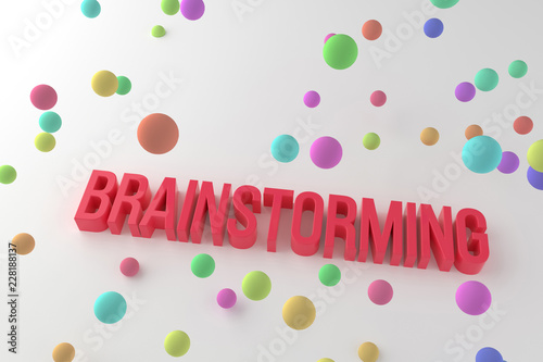 Deurstickers Positive Typography Brainstorming, business conceptual colorful 3D rendered words. Typography, wallpaper, positive & illustration.