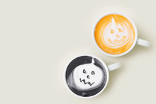 Coffee Cup With  Halloween Pumpkin On Pale Background. Halloween Concept.  Flat Lay, Top View