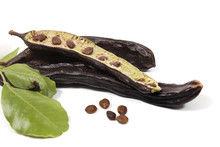 Carob Fruits With Leafs
