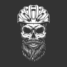 Vintage Monochrome Road Cyclist Bearded Skull