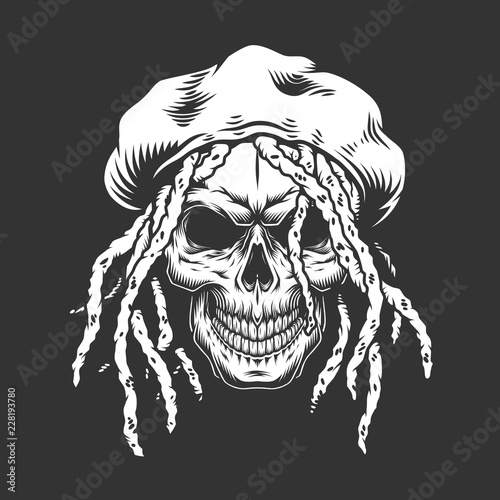Photo  Skull with rastaman hat and dreadlocks