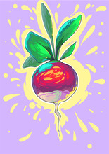 Radish Comic Vector Art. Vegan. Colorful Creative Gogh Style Smears, Colorful Pastel Fantastic Palette. Modern Trendy Illustration. Juice Effects Vegetable.