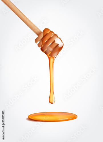 Honey flowing, dripping from wooden dipper stick. Tableau sur Toile