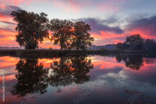 Aluminium Prints Dark grey Dawn over the pond at autumn in Falenty near Raszyn, Masovia, Poland