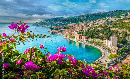 Spoed Foto op Canvas Blauw French Riviera coast with medieval town Villefranche sur Mer, Nice region, France