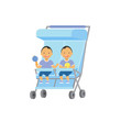 baby with toys twins double blue stroller full length avatar on white background, successful family concept, flat cartoon vector illustration