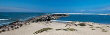 Ventura Beach And Sea Rock Wall Jetty On The California Coastline USA