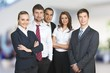 Successful business team on background