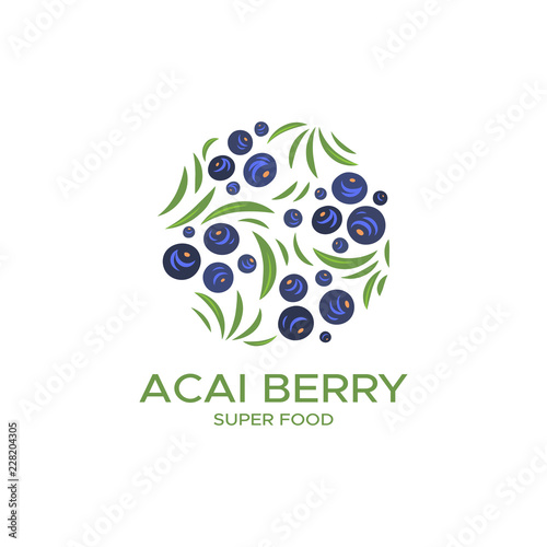 Color logo for products of berry acai Canvas Print