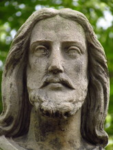 Detail Of Statue - Christus Face On Grave In Old Abadoned Cemetary, Nice Sculpture Close-up